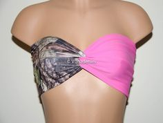 Camo and Pink Bandeau Top Swimwear Bikini Top Twisted by Vonzdenim
