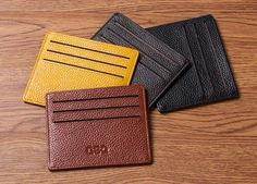 There are several colors you can get them in. The design includes a money pocket as well as six card holding pockets.