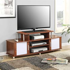 Convenience Concepts Laguna TV Stand for TVs up to 60 inch, Cherry, Red 60 Inch Tv Stand, 60 Tv Stand, Tv Stand With Storage, Cherry Tv Stand, Swivel Tv Stand, Modern Tv Wall Units, Tv Stand Cabinet, Tv Stand Designs, Solid Wood Tv Stand