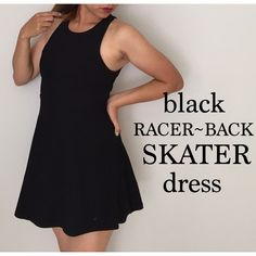 Black Racerback Skater Dress Short black skater dress with unique back design. Sexy and flirty for a girls' night out. ANGL Dresses