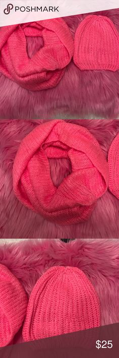 NWT H&M pink knit Infiniti scarf and beanie Beautiful pink color Infiniti scarf with beanie. Warm and cozy material. Stretchy. Amazing for colder months of winter. H&M Accessories Scarves & Wraps