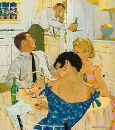 These two couples are very good friends, because they are around the kitchen table, not in the living room. And they are obviously enjoying each others company. This painting makes me feel very good!