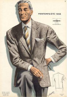 Men's French Fashion Illustration –1957