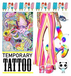 """""""Today's  Temporary Tattoos"""" by yours-styling-best-friend ❤ liked on Polyvore featuring beauty, Y.R.U., J. Valentine, Tattly, neon, BloggerStyle, musicfestivalstyle and temporarytattoo"""