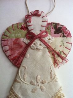 Angel Ornament from old quilt scrapes.