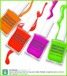Obsessive Compulsive Cosmetics Summer Nail Lacquers!  Of course you need the colour DEVEN GREEN.  PS: It glows under black light! https://occmakeup.com/collectio…/nails/products/nail-lacquer