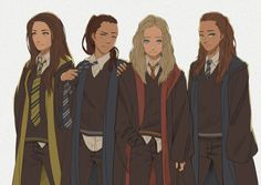 Octavia, Raven, Clarke, Lexa | The 100 at Hogwarts<< this is amazing but i think Lexa would be a Slytherin.