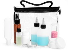 Travel Kit, Clear Vinyl Bags w/ Black Trim and Travel Size Containers Travel Bottles, Bottle Packaging, Travel Kits, Black Trim, Travel Size Products, Water Bottle, Container, Bags, Handbags