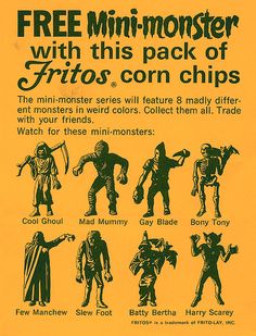 Free Mini-monster offer from Fritos Mini Monster, Monster Toys, Monster Art, Mode Vintage, Vintage Ads, Vintage Food, Wild Eyes, Fantasy Comics, Classic Monsters