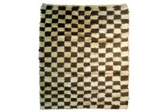 Mid Century Turkish Shag Checkerboard Rug