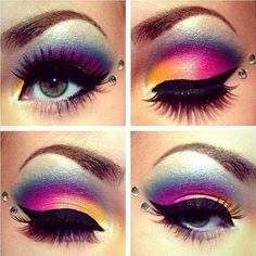 Dark black eye lashes and Colorful eye makeup
