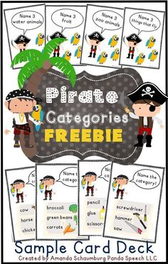 18 pirate themed category cards for speech therapy! 18 pirate themed category cards for speech therapy! Speech Activities, Speech Therapy Activities, Speech Language Pathology, Language Activities, Speech And Language, Pirate Activities, Fun Card Games, Card Games For Kids, Pirate Theme