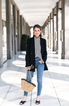 Statement sleeves stripes top earrings zara jeans flats basket bag casual chic outfit fashionblog