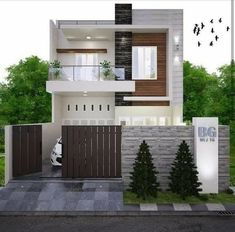 Pin by Civil Engineering Discoveries on Modern House Design Ideas Modern Exterior House Designs, Modern Small House Design, Simple House Design, Modern House Plans, Narrow House Designs, Exterior Design, Two Story House Design, 2 Storey House Design, Bungalow House Design