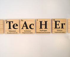 """Teacher gift, periodic table of elements """"TEACHER"""" with inspirational quote wooden tiles on Etsy, $35.00"""