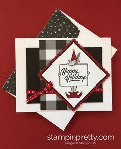 Learn how to create this simple holiday card using Stampin' Up! Festive Phrases Stamp Set - Stampin' Up! #stampinup #festivephrases