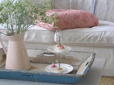 Pastels and Whites-old blue tray