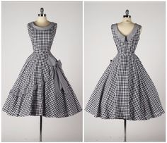 374390b8c0335 Gingham Dress, Vintage Ladies, Vintage Clothing, Vintage Outfits, Rockabilly,  Old Clothes