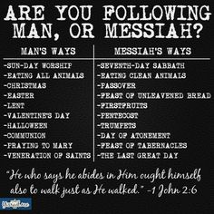 """FYI, if any of the things you do is under """"Man's Way"""" and not under """"Messiah's Way"""" then you are following another Jesus."""