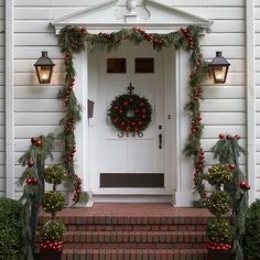 front door with garland