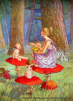 1920s FAIRY FAIRIES on TOADSTOOLS Print Lithograph