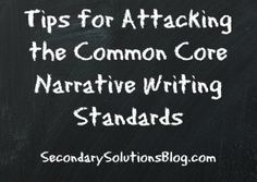 Tips for Attacking the Common Core Narrative Writing Standards: This is a great list of things to incorporate while teaching narrative writing.