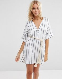 ASOS | ASOS Stripe Rope Belted Beach Shirt Dress at ASOS