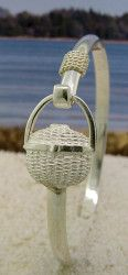Sterling Silver Nantucket Basket Bracelet with Nautical Rope
