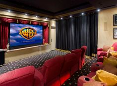 Home theater curtains i like the idea of putting up fake red curtains dream house basements . home theater Home Theater Curtains, Home Theater Decor, Home Theater Design, Home Theater Seating, Movie Theater Rooms, Home Cinema Room, Movie Rooms, Tv Rooms, Game Rooms