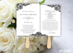 Printable Wedding ceremony fan program template Vintage Black lace pattern by Oxee, DIY, Editable in Word