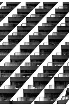 Not all architecture is ideal. Brutalist architecture was a relatively short-lived fashion but because of the great number of building projects happening at the right time of its peak leaves a durable legacy. Pattern Photography, Abstract Photography, Line Photography, Architecture Design, Black Architecture, Architectural Pattern, Principles Of Design, Black And White Photography, Inspiration