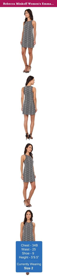 Rebecca Minkoff Women's Emma Dress Black Dress. Rebecca Minkoff Size Guide Spark your festival spirit with the Emma Dress! Printed sheath dress crafted in a lightweight cotton weave. High round neckline and sleeveless design creates a contemporary silhouette. Contrast silk trim. Hidden back hook and zipper closure. Straight hem. 100% cotton;Combo: 100% silk;Lining: 95% polyester, 5% spandex. Dry clean only. Imported. Measurements: Length: 33 in Product measurements were taken using size…