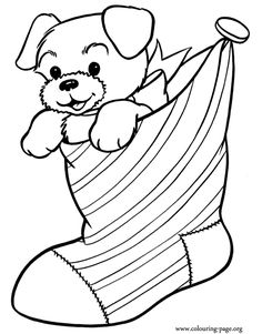 Have fun coloring this awesome picture of a cute puppy inside a Christmas stocking! Just print it!