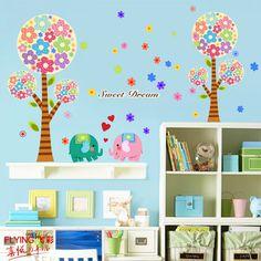 Vliegen kleur muurstickers romantische slaapkamer woonkamer kinderkamer cartoon stickers kinderkamer slaapzaal wanddecoraties zoals kleine boom