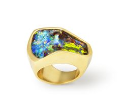 CUBED COLLECTION ~ Opal Mountain Ring with 12.20ct Boulder Opal set in 20k yellow gold #opalsaustralia