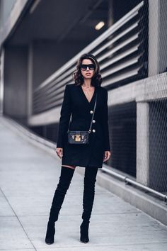 All black outfit - Balmain over the knee boots + Balmain dress