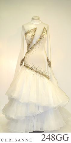 Chrisanne white and gold crystal layered modern dress