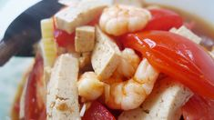 This is a real summer dish; An Indonesian sajur asem with tomato, tofu and prawns. It is light, healthy and delicious.) Super easy and looks lovely ;-) Selamat Makan!   recipe in English: http://pisangsusu.com/106-sajur-asem-with-tomato-tahu-and-shrimps/
