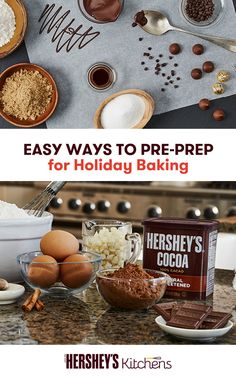 When it comes to the holidays, it's all about the pre-prep. This season, stock up on the basics: HERSHEY'S Cocoa, HERSHEY'S Kitchens Baking Chips and HERSHEY'S KISSES Brand Milk Chocolates. These items will transform your recipes into something uniquely yours and perfect for the season.