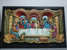 Ultima cena en ceramica pintada con okeis traslucidos y acriluco. Enmarcada en cedro rosado Glazing Techniques, Mural Art, Decoupage, Porcelain, Pottery, Diy Crafts, Christian, Ceramics, Drawings