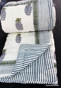 Indian Handmade Handblock Print Patchwork King Cotton Kantha Quilt Throw Blanket Agreeable Sweetness Bedding