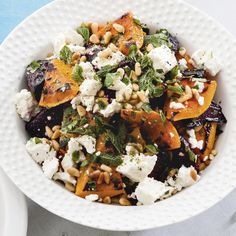 This stand-alone salad looks so colourful! Avoid stirring the feta through the salad but scatter on top before serving.