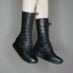 570397d42bf Qt 90s black leather platform lace up boots 🖤 by Stephane Kélian Paris no  size listed
