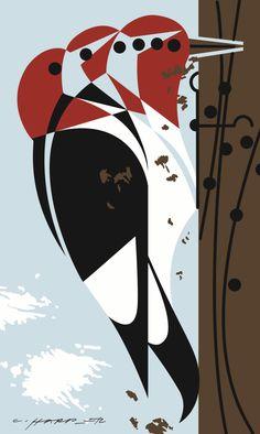 """Headbanger"" Woodpecker Art by Charley Harper"