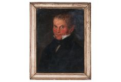 HOME DECOR – ART – PAINTING – OIL ON CANVAS – 19th-C. Oil Portrait. Oil painting of a gentleman. American, circa 1830.  Frame is an antique and possibly original.