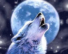 Wolf Howling At The Moon Cross Stitch Pattern