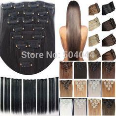 """Gratis verzending 24 """"(60 cm) 7 stks set120g-125g 17 kleuren Lange Rechte Synthetisch Haar Clip in op hair extensions"""