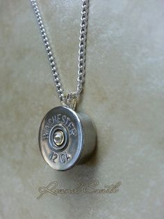 Jewelry Making Shells Bullet Jewelry thick cut Winchester 12 gauge shotgun shell crafts necklace charm pendant by RoundSouth Bullet Shell Jewelry, Shotgun Shell Jewelry, Bullet Casing Jewelry, Bullet Necklace, Necklace Charm, Ammo Jewelry, Metal Jewelry, Jewelry Crafts, Handmade Jewelry