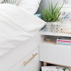 Ikea Hack: Add Some Brass Pulls to the Brimnes Bed to Spruce up your Bedroom