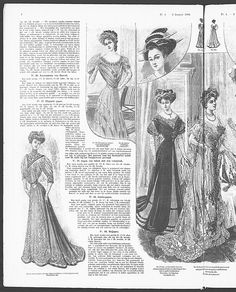 Ball gowns with Art Nouveau inspired decoration, below left, middle right.   (visit site for bigger picture)  Gracieuse. Geïllustreerde Aglaja, 1908, aflevering 1, pagina 4